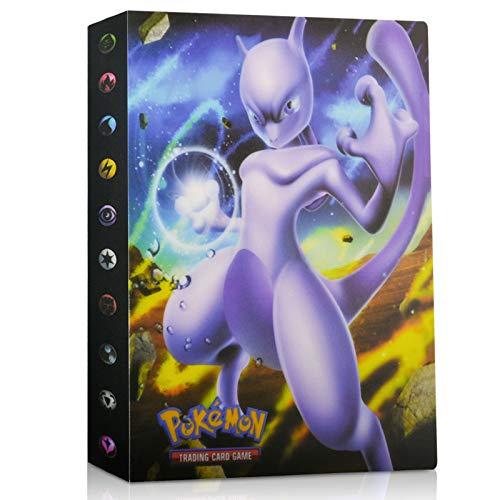 EKKONG Pokemon Sammelalbum, Pokemon Karten Album Pokemon Karten Halter Ordner Buch GX EX Trainer Sammelkartenalben, 28 seitig Kann bis zu 224 Karten aufnehmen (Mewtu)