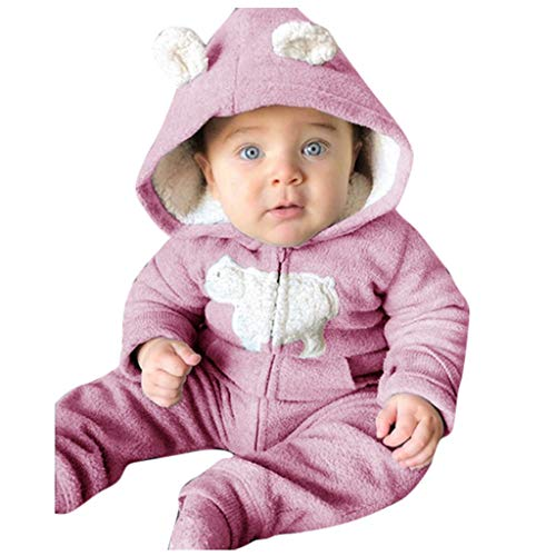 Capispalla - Abrigo cálido con Capucha para bebé, Pelele con Capucha para niño, Traje de Nieve cálido de Franela de Manga Larga, Pijama para recién Nacido Rosa 6-12 Meses