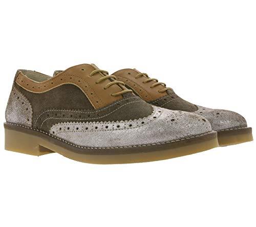 Heine Echtleder Slipper stylische Business-Schuhe Damen Sommer-Schuhe Budapester Braun mit Silberner Spitze, Größe:38