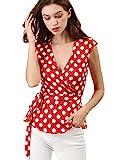 Allegra K Damen Ärmellos V Neck Bindegürtel Wickel Polka Dots Top Bluse Rot XL (EU 48)