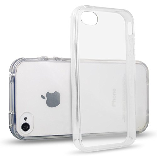NEW'C Funda para iPhone 4, iPhone 4S, Anti- Choques y Anti- Arañazos, Silicona TPU, HD Clara