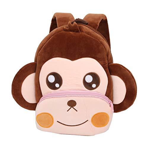 fegayu Adjustable Preschool Backpack, Top Hanging Loops Animal Schoolbag, Comfortable Lightweight for Kids Children Toddlers Gifts(monkey)