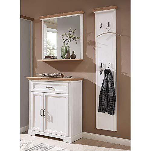 Lomadox Garderoben Landhausmöbel Set in Pinie weiß mit Artisan Eiche inkl. Garderobenpaneel