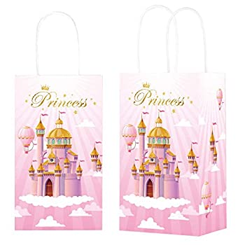 12 Pieces Princess Party Gift Treat Bag Pink Princess CastleCandy Goodie Favor Bags with Handle for Princess Theme Birthday Baby Shower Party Favors Supplies