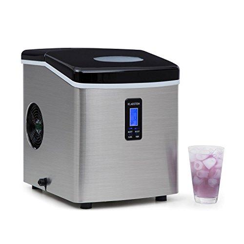 Klarstein Mr. Silver-Frost - Eismaschine, Eiswürfelmaschine, Eiswürfelbereiter, 15 kg/Tag, 150 Watt, 3 Würfelgrößen, Timer, Edelstahl, schwarz