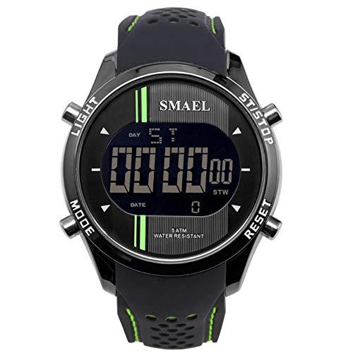 QZPM Relojes Los Hombres del Deporte LED Digital Multifuncional Al Aire Libre Militar 50M Prueba De Choques Impermeable De Pulsera Cara Grande,Verde