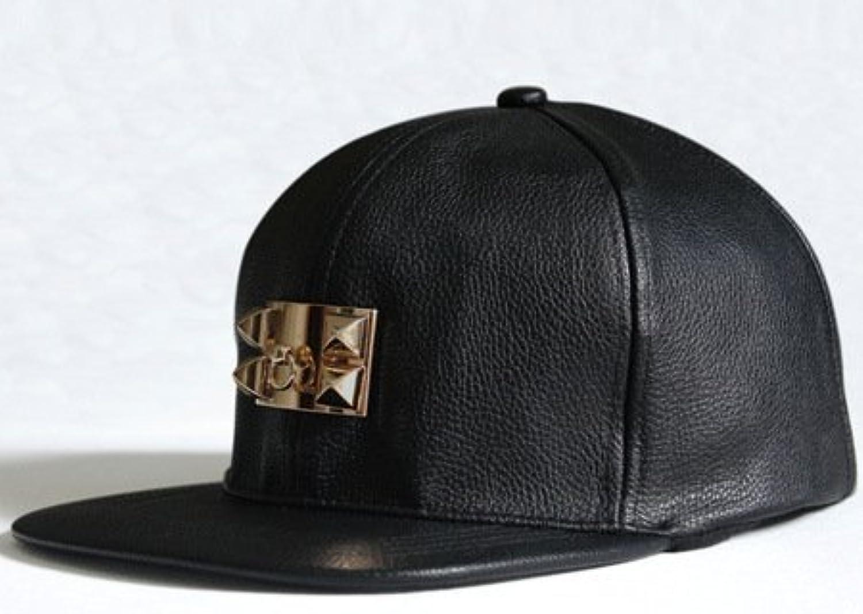 5b1809182a17 Hat, Fashion Style PU Leather Metal Buckle Hip Baseball Cap Flat ...