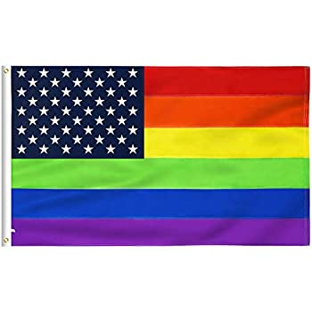 FLAGBURG USA Rainbow Flag 3x5 FT American Gay Pride Flag with Heavy Duty Embroidered Stars and Brass Grommets Vibrant Color  Not Print  UV Fade Resistant US LGBTQ Flags for Peace/Equality/Pride