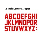 Fanbrilliant 2 Inch Iron On Letters Total 78 Triple A to Z Iron On Transfer Letters for Sport Jerseys T Shirts Team Name (red)
