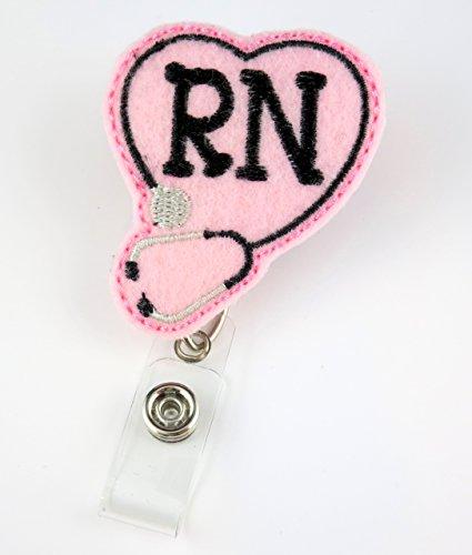 RN Heart Stethoscope Pink - Nurse Badge Reel - Retractable ID Badge Holder - Nurse Badge - Badge Clip - Badge Reels - Pediatric - RN - Name Badge Holder