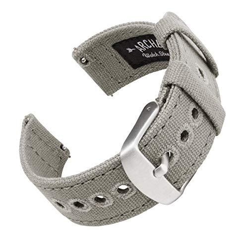 Archer Watch Straps - Canvas Quick Release Ersatzarmbänder | Uhrenarmband mit Schnellverschluss (Aschgrau, 20mm)
