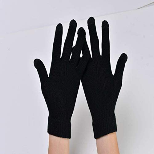 Knit Touch Screen Gloves Winter Keep Warm Mittens Gloves for Man Women Warm Student Gloves - (Color: Black, Gloves Size: One Size)