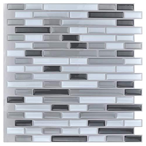 Art3d 10-Piece Stick on Backsplash Tile for Kitchen Bathroom, 12  x 12  Gray-White Tile