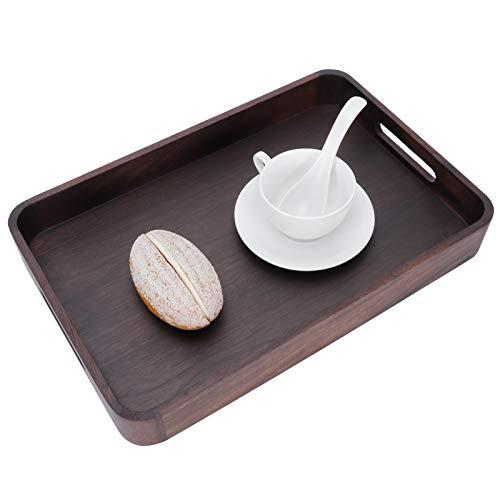 Bandeja de desayuno, bandeja de madera para servir con plato de nogal con asa para fiesta en la cocina(Walnut round corner tray (large), blue)