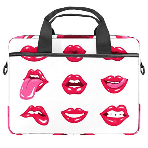 Laptop Bag Set of Sexy Red Pop Art Lips Notebook Sleeve with Handle 13.4-14.5 inches Carrying Shoulder Bag Briefcase