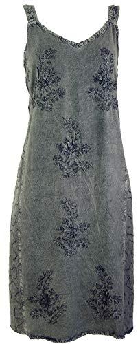 Guru-Shop Besticktes Boho Sommerkleid, Midikleid, Indisches Hippie Kleid in 3/4 Länge, Anthrazit, Damen, Design 6, Synthetisch, Size:40, Lange & Midi-Kleider Alternative Bekleidung