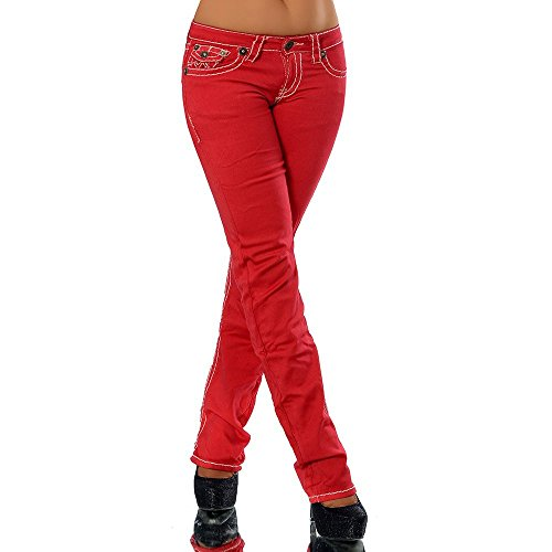 Damen Bootcut Jeans Hose Damenjeans Hüftjeans Gerades Bein Dicke Naht Nähte H922, Größen:38 (M), Farben:Rot