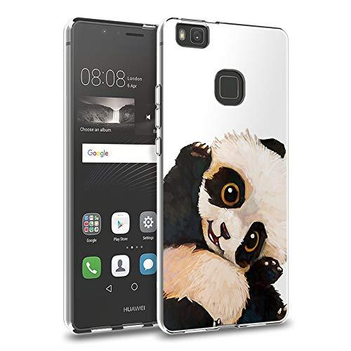 Pnakqil Funda Huawei P9 Lite, Silicona Transparente con Dibujos Diseño Slim Gel TPU Antigolpes Ultrafina de Protector Piel Case Cover Cárcasa Fundas para Movil Huawei P9Lite, Panda Blanca