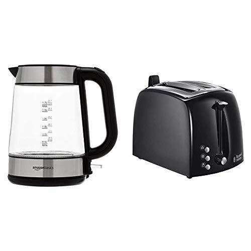AmazonBasics - Elektrischer Wasserkocher aus Glas, 1,7 l, 2200 W & Russell Hobbs Toaster Textures+, 2 Toastschlitze, 6 einstellbare Bräunungsstufe + Auftau- & Aufwärmfunktion, 850W, Toaster schwarz