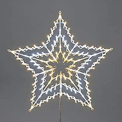 Tinsel Time 100 LED Twinkling Star Silhouette, Indoor and Outdoor, 50CM, Hanging Christmas Decoration (White and Warm White)