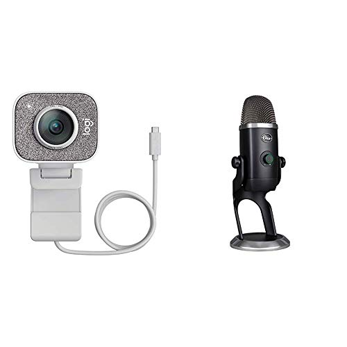 Logitech Webcam Off White + Blue Microphone Yeti X Professional USB Microphone for Gaming, Streaming and Podcasting Microphone Schwarz