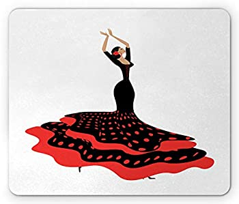 Ambesonne Spanish Mouse Pad Traditional Dancer Woman with Polka Dotted Dress Rectangle Non-Slip Rubber Mousepad Standard Size Charcoal Grey Vermilion