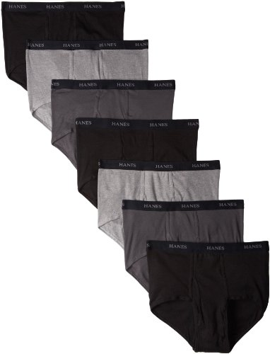 Hanes Ultimate Men's FreshIQ ComfortSoft Briefs (7 Pack), Black/Grey, Medium