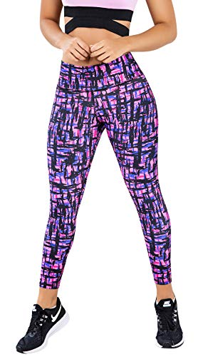 LadySlim by NuvoFit Colombian Women High Waisted Tummy Control Yoga Workout Push Up Anti Cellulite Leggings Colorful 07 M