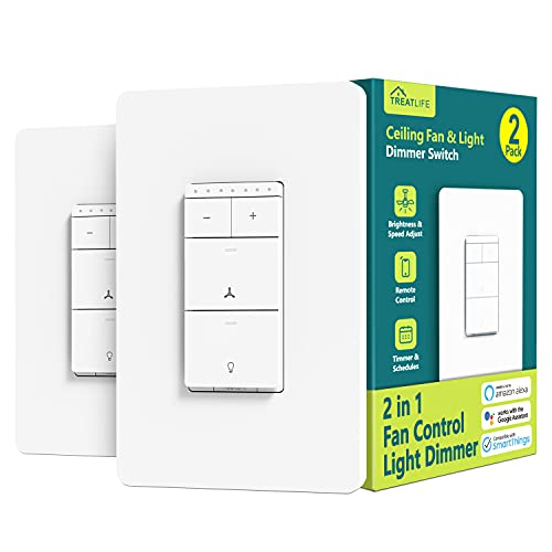Smart Ceiling Fan Control and Dimmer Light Switch 2PACK, Neutral Wire Needed, Treatlife 2.4Ghz Single Pole Wi-Fi Fan Light Switch Combo, Works with Alexa, Google Home and SmartThings, Remote Control