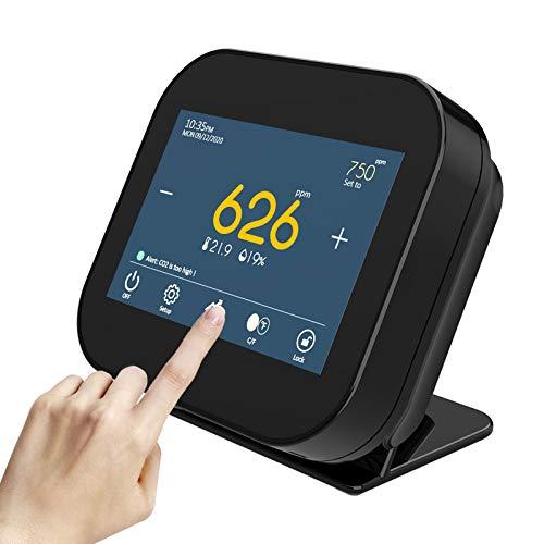 CO2 Messgerät,SEAAN NDIR Kohlendioxid-Innenmessgerät, Kohlendioxid-Detektor für Temperatur und relative Luftfeuchtigkeit, Luftqualitätsmonitor, Datenlogger, Bereich 0~9999 ppm (schwarz)