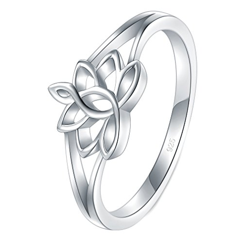 BORUO 925 Sterling Silver Ring, Lotus Flower Yoga High Polish Plain Dome Tarnish Resistant Comfort Fit Wedding Band 2mm Ring Size R