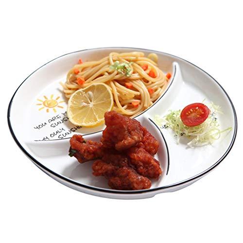 Round Geteilte Speiseteller, Salatteller, Glatte keramische Glasur, Cartoon-Muster, verwendet for Snack Hauptfutter Kimchi, Weiß, 8cm