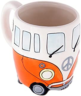 Volkswagen - Orange Ceramic Shaped Coffee Mug/Cup (VW Camper Van) By Giftbrit