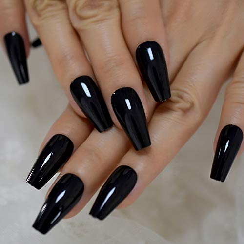 Black Tapered Midi Long Coffin Press on Nails