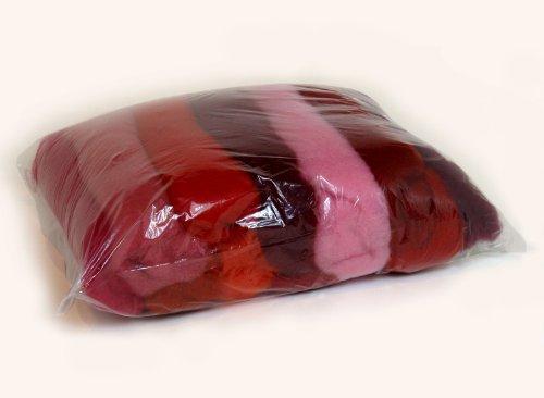 SIA COLLA-S L'ensemble de Nuances de la Laine pour Feutrage, Mix Couleurs Rose Rouge Bordeaux, 11 Couleurs Différentes Minimum, 100g.