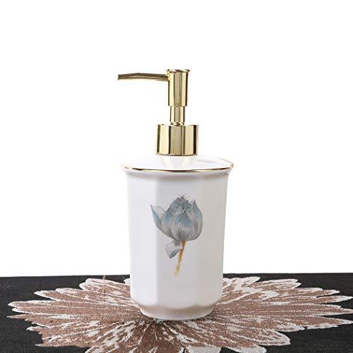 Jjzhb Dispensador de jabón de Tina con Bomba de Plata 375ml Proceso de cocción de Porcelana de Nieve Elegant Lines Dispensadores de loción Elegant