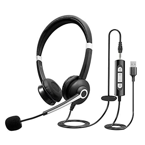 Infurture USB Headset Computer Headset with Noise Cancelling...