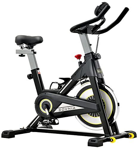 SOVNIA Bicicleta Estatica de Spinning profesional Bici Ejercicio con soporte para iPad, monitor LCD y cómodo cojín de asiento, Bicicleta indoor, Speedbike con Sistema de bajo Ruido (Black) ✅
