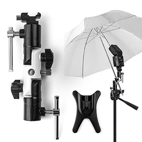 Fotover Blitzschuh Kamera Schirmhalterung Blitzhalter Blitz Halterung Speedlite Blitzneiger Halterung Stand Kamera Regenschirm Halterung Schuh Halterung kompatibel mit Canon Nikon Pentax