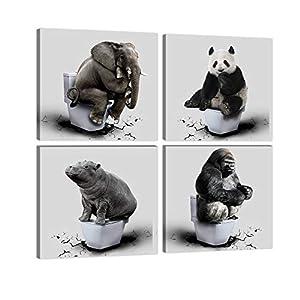 4 Panels Panda Floor Cracked Animals Orangutan Wall Art Elephant Posters Print Art Painting Hippopotamus Thinker on Toilet Picture Artwork Canvas For Bathroom Bedroom Home Decor Framed Ready to Hang