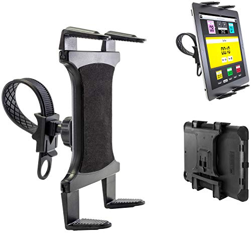 ChargerCity Strap-Lock Tablet Mount for Bicycle Treadmill Exercise Bike Boat Helm Handlebar w/Universal Tablet Holder for Apple iPad Mini Air PRO/Ipad Samsung Galaxy Tab (7-12inch Tablets)