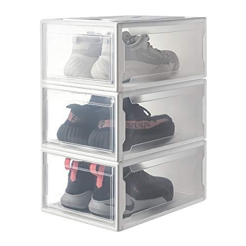 Yorbay Schuhbox, 3er Set, stapelbarer Schuhorganizer, Kunststoffbox mit durchsichtiger Tür, Mehrweg Schuhaufbewahrung, 37 x26 x 16 cm, für Schuhe bis Größe 48, Weiß