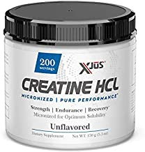 Xjus Creatine-HCl, Micronized for Fast Absorption, Increase Muscle Gains from Workouts, Strength, Endurance, Recovery, Vegan Friendly, 200 Servings