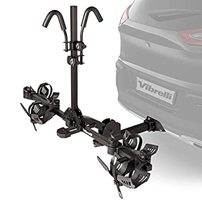 Vibrelli Bike Hitch Rack for Cars, SUV - Holds 130lbs - Anti-Wobble - 2 Bicycle Carrier for Fat Tire, Ebikes, Road, Mountain, MTB - Tilt Up/Fold Down - Locking Tow Hitch Mount Platform Bike Holder