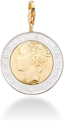 Miabella 18K Gold over Sterling Silver Genuine Italian 500 Lira Coin Medallion Charm Pendant product image