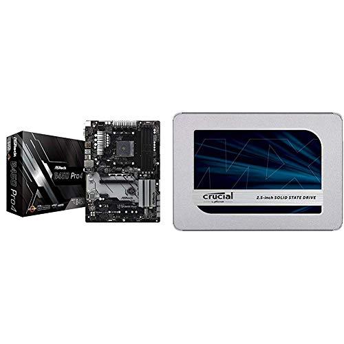 MB ASRock B450 Pro4 AM4 ATX D-Sub/HDMI/DP DDR4 Retail & Crucial MX500 CT500MX500SSD1Z 500 GB Internes SSD (3D NAND, SATA, 2,5 Zoll)