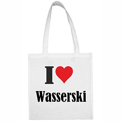 Reifen-Markt Tasche I Love Wasserski Größe 38x42 Farbe Weiss Druck Schwarz