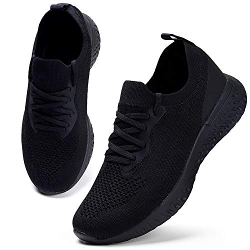 Photo of HKR Womens Trainers Athletic Running Shoes Comfortable Walking Shoes Lightweight Tennis Shoes Breathable Ladies Outdoor Gym Sport Sneakers, 6 UK, All Black