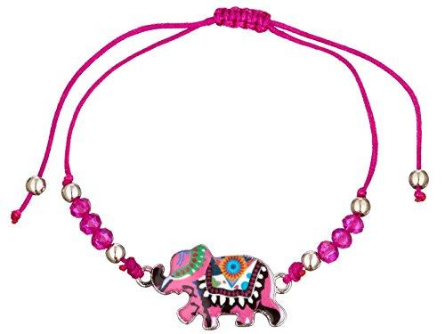 scarlet bijoux   Armbander mit Anhänger Elefant Textilband grössenverstellbar