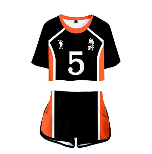 Gurbanton Haikyuu Cosplay Costume Hinata Shoyo Karasuno High School Volleyball Uniform Shirt Shorts for Halloween (5-Tanaka Ryunosuke, XXL)